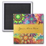 Personalized Funky Boho Floral Flame Mandalas 2 Inch Square Magnet