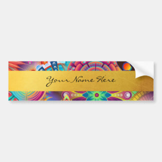 Personalized Funky Boho Floral Flame Mandalas Bumper Sticker