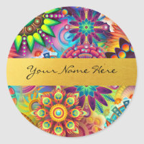Personalized Funky Boho Floral Flame Mandalas Classic Round Sticker