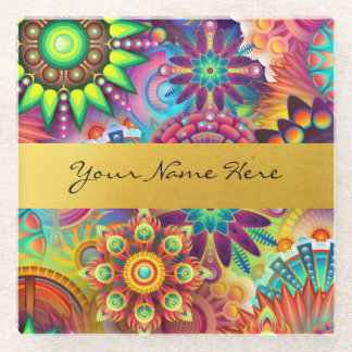 Personalized Funky Boho Floral Flame Mandalas Glass Coaster