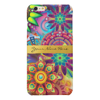 Personalized Funky Boho Floral Flame Mandalas Glossy iPhone 6 Plus Case