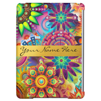 Personalized Funky Boho Floral Flame Mandalas iPad Air Cases