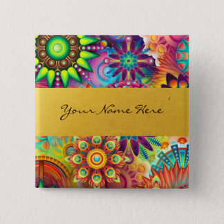 Personalized Funky Boho Floral Flame Mandalas Pinback Button