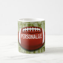 Personalized Funky Green Grunge Football Coffee Mug