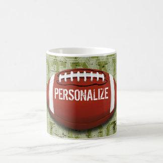 Personalized Funky Green Grunge Football Coffee Mug