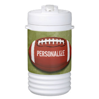 Personalized Funky Green Grunge Football Cooler
