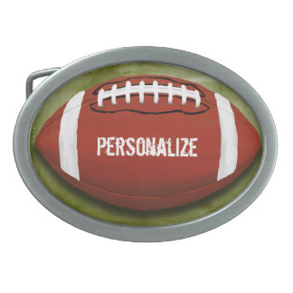 Personalized Funky Green Grunge Football Oval Belt Buckle