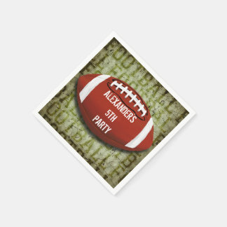 Personalized Funky Green Grunge Football Paper Napkin