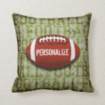 Personalized Funky Green Grunge Football Pillow