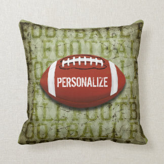 Personalized Funky Green Grunge Football Throw Pillow
