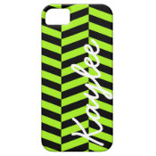 Personalized Funky Neon Green and Black Zig Zags iPhone 5 Covers