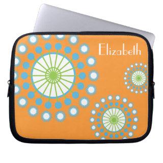Personalized Funky Orange Blue Pinwheel Laptop Sleeve