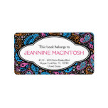 """Personalized Funky Paisley Patterned Bookplate<br><div class=""""desc"""">A fun and cheery address label that has been designed to use as a bookplate sticker! Pretty retro hippie paisley print with a modern funky style using bright popular colors of hot pink, electric blue and tangerine orange on a black background with a rounded tag area for your name &amp;...</div>"""
