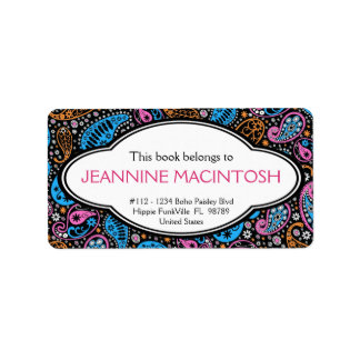 Personalized Funky Paisley Patterned Bookplate