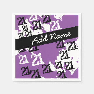 Personalized Funky Purple 21st Birthday Paper Napkins