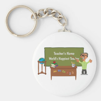 Personalized Funny Cartoon Teacher Male Keychain