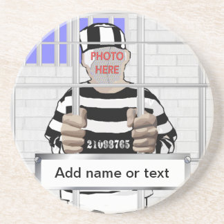 Personalized funny face Convict template Coaster