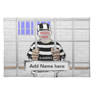 Personalized funny face Convict template Placemat