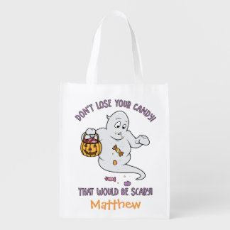 Personalized Funny Halloween Trick or Treat Sack Reusable Grocery Bag