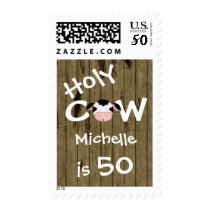 Personalized Funny Holy Cow 50th Birthday Humorous Postage