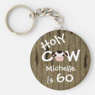 Personalized Funny Holy Cow 60th Humorous Birthday Basic Round Button Keychain