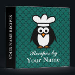 """Personalized funny penguin recipe binder cookbook<br><div class=""""desc"""">Personalized penguin chef recipe binder cookbook with quatrefoil pattern design.  Custom kitchen cook book with personalizable name. Funny chef bird cartoon wearing a cooks hat. Cute animal drawing. Customizable teal blue background color behind trellis lattice. Availabe as 1  1.5 and 2 inch.</div>"""