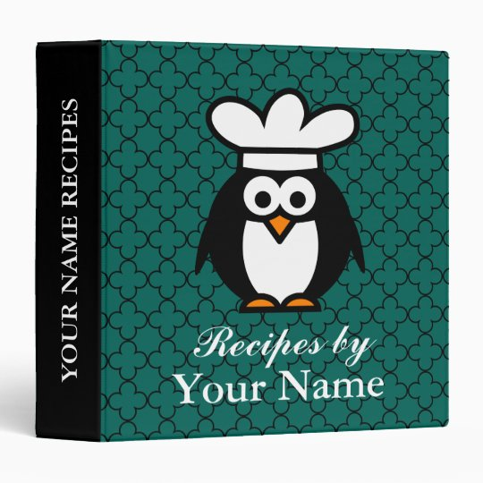 personalized funny penguin recipe binder cookbook zazzle com