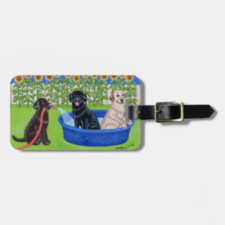 Personalized Funny Pool Party Labradors Bag Tag
