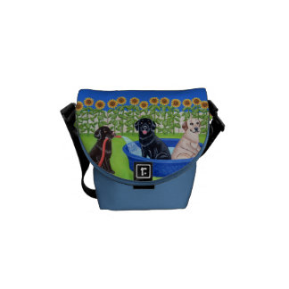 Personalized Funny Pool Party Labradors Painting Courier Bag