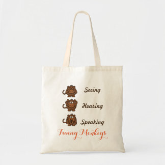 Personalized Funny Seeing Hearing Speaking Monkeys Tote Bag