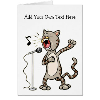 Personalized Funny Singing Cat Greeting Cards