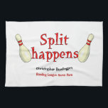 """Personalized funny split happens bowling towel<br><div class=""""desc"""">This towel has a funny bowling saying of split happens with two pins next the the text split happens.  At the bottom,  you can easily personalize this with your name and customize the bowling league name.</div>"""