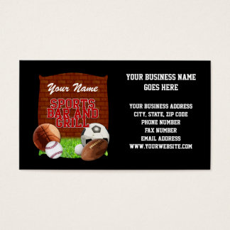 Personalized Funny Sports Bar and Grill Business Card