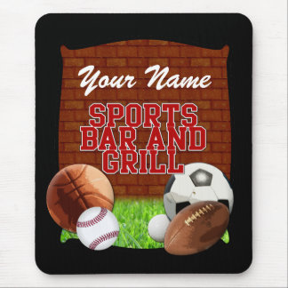 Personalized Funny Sports Bar and Grill Mousepads