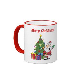 Personalized Funny Xmas Cartoon Santa Ringer Coffee Mug