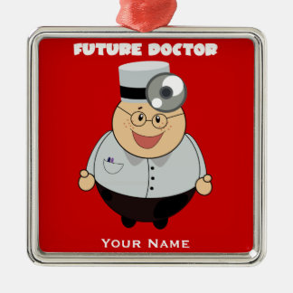 Personalized Future Doctor Square Metal Christmas Ornament