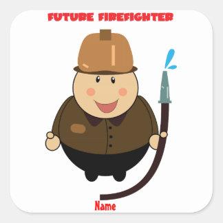 Personalized Future Firefighter, Future Fireman Square Sticker