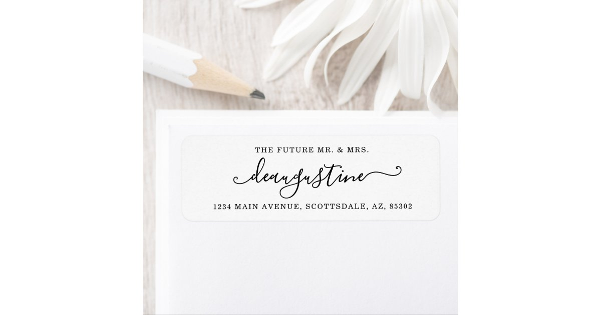 Save the Date Labels Custom Printed Return Address Labels Future Mr and Mrs Brown Kraft Labels Calligraphy Address Labels