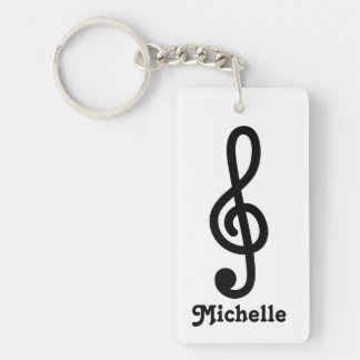 Personalized G Treble clef music note keychain