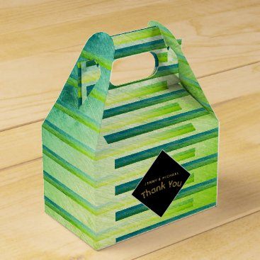 Wedding Themed Personalized Gable Boxes Ombre Green Metallic