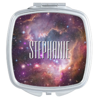 Personalized Galactic Outer Space Purple Nebulae Compact Mirrors