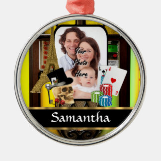 Personalized gambler round metal christmas ornament