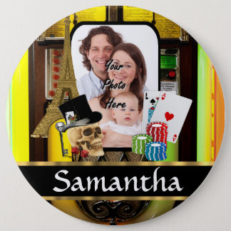 Personalized gambler pinback button