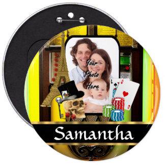 Personalized gambler pinback button