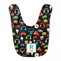 Personalized Gamer Pattern Video Game Snacks Baby Bib