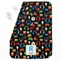Personalized Gamer Pattern Video Game Snacks Baby Blanket