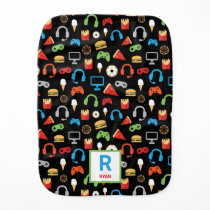 Personalized Gamer Pattern Video Game Snacks Baby Burp Cloth