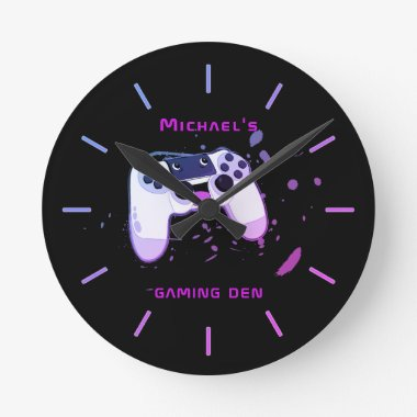 Personalized GAMING DEN Gamers Wall Clock Neon