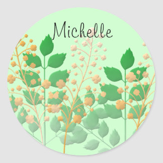 Personalized Garden Flowers and Leaves Round Sticker