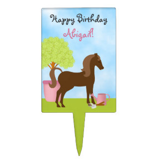 Personalized Garden Horse Birthday Cake Topper